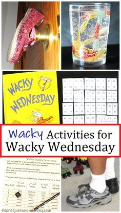 fun ideas for your own Dr Seuss Wacky Wednesday #drseussactivities #preschoolactivities #wackywednesday #drseuss Dr Seuss Activities, Craft Activities For Kids, Preschool Activities, Crafts For Kids, High School Writing, Dr Seuss Week, Nouns And Adjectives, Wacky Wednesday, Sock Crafts