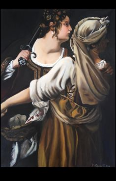 Giuditta e la sua ancella, Omaggio a Gentiletti Artemisia, olio su tela 50x70