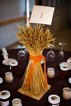 wheat centerpiece for fall wedding