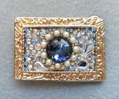 Bling belt buckle, Women's, Blue,  Swarovski crystal, Pearl, Vintage rhinestones,Gold, Christmas, Free shipping
