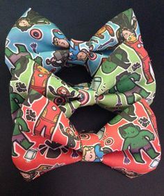 Avengers Accessorize!  Each hair bow is made of 100% cotton fabric and comes with an alligator hair clip glued to the back.  Each bow's pattern is uniquely different and no two hair bows are the same!  I am in no way affiliated with The Avengers or Marvel and this is not official merhandise.