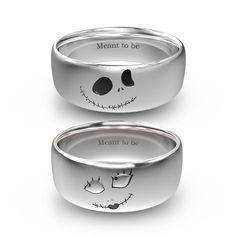Nightmare before Christams Jack And Sally Rings In Titanium For Couples
