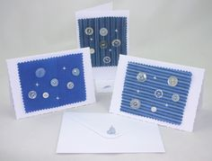 Christmas cards made with some vintage buttons, embroidery detail and some of our fabric in Midnight Stripe, Sky Stripes and Cobalt Plain.