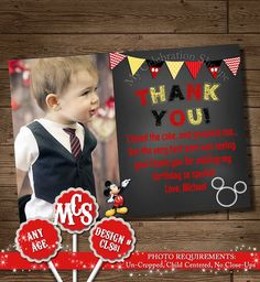 HUGE SELECTION Mickey Mouse Thank You card by MyCelebrationShoppe, $8.50