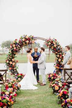 Waterfront Wedding Ceremony decor with flowers - Bohemian Road Photography | Colorful Wedding Flowers Pop Agains Teal Bridesmaid Dresses - Belle The Magazine Wedding Set Up, Floral Wedding, Wedding Bouquets, Wedding Flowers, Dream Wedding, Summer Wedding Colors, Summer Weddings, Teal Bridesmaid Dresses, Waterfront Wedding