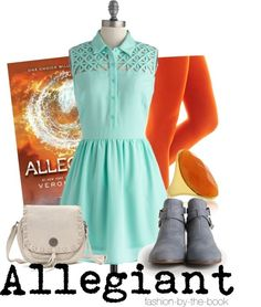 Allegiant by Veronica Roth Find it here This comes out today! For the outfit, I decided to focus on the beautiful water symbol. So excited to read this, but since it's the last one, it's bittersweet.