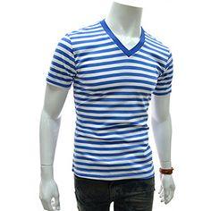 (CASS17-BLUE) Slim Fit Stripe V-neck Short Sleeve Tshirts