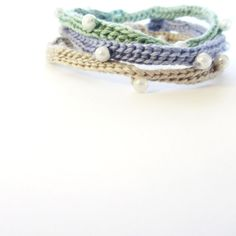 Pearl Bracelet  Crochet bracelet  set of three  by WildSpringRose, $9.00