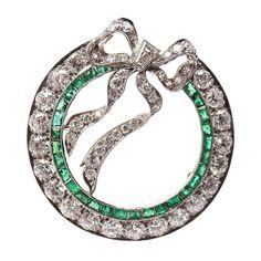 TIFFANY & CO Art Deco Diamond & Emerald Bow Platinum Pin Brooch | $13,500
