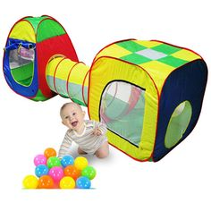 Baby Toys 3pc/set Cubby-Tube-Teepee Pop-up Play Tent Toys for Children Kids Tent Baby Tunnel Adventure Play House Toy Tents