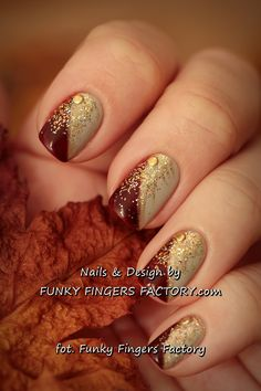 Gelish Autumn Nails with Gold Glitters and Studs by www.funkyfingersfactory.com