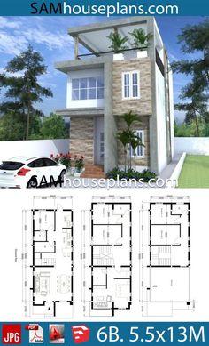 Desain Rumah Type 45 23 6 Bedroom House Plans, Duplex House Plans, House Layout Plans, Dream House Plans, House Layouts, 2 Storey House Design, Bungalow House Design, House Front Design, Small House Design