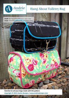An easy to follow sewing pattern to create your very own Hang About Toiletry Bag. This toiletry bag pattern comes in two sizes and is perfect for men and women alike. It is a simple yet functional toiletry bag that has 2 zipper pockets along with the main compartment, and 3 hanging options for ease of use.