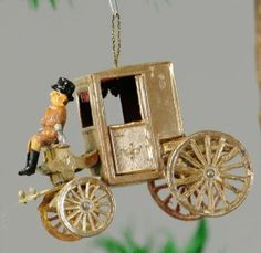 DRESDEN SILVER COACH CHRISTMAS ORNAMENT