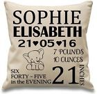 """18"""" Personalised Natural Canvas Cushion Cover for Baby Christening Birth"""