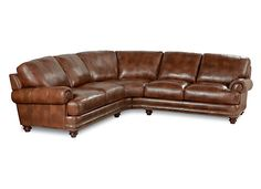 Caldwell sectional in soft and sumptuous leather for the ultimate in comfort and durability. A timeless look thats 100% fad resistant, its an updated take on classic style. With pleated roll arms, loose T-seats and pillow backs, its classic lines are accentuated by antique brass nailhead trim and turned wood legs in a warm mahogany finish. Available in genuine leather with single needle top-stitched details. See the entire Caldwell collection for additional matching pieces.