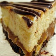 """Brownie Caramel Cheesecake Allrecipes.com  """"This is a great recipe that gets compliments when ever I make it. It is very rich, and worth the time and calories."""""""