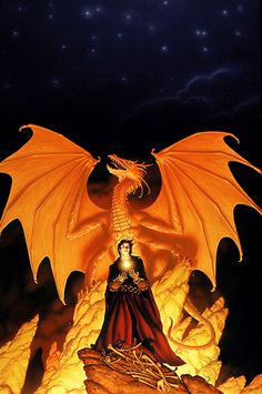 After Michael submitted his concept sketch for the cover of SUNRUNNER'S FIRE by Melanie Rawn, he realized that the anatomy of the dragon's wings was inconsistent with the structure on the other covers he had done for the series. He corrected the wings to match the earlier ones in the full-scale painting he submitted to DAW Books, but they liked the ones in the sketch better.