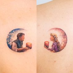 Tangled👸🏼🤴🏼, Rapunzel💛Flynn Customers from. Europe bookings(Jul~Aug) will be opened. Disney Tangled Tattoo, Rapunzel Tattoo, Disney Princess Tattoo, Tattoo Disney, Mini Tattoos, Body Art Tattoos, Small Tattoos, Hp Tattoo, Cat Tattoos