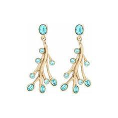 Oscar de la Renta Crystal-Embellished Earrings ($300) ❤ liked on Polyvore featuring jewelry, earrings, earrings jewelry, gold tone jewelry, oscar de la renta jewelry, oscar de la renta earrings and blue jewelry