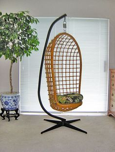 Vintage 1960s HANGING Wicker Chair & ORIGINAL Cast Iron Stand from Pier I - Incredible Nearly PERFECT Condition Includes Custom Seat Cushion on Etsy, $400.00