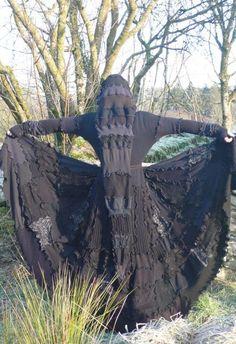 *black elfin* upcycled coat with big hood <3