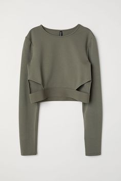 H&M Short Jersey Top - Khaki green - Women Crop Top Outfits, Cute Casual Outfits, Stylish Outfits, Girls Fashion Clothes, Teen Fashion Outfits, Girl Outfits, Fashion Fall, Paris Fashion, Spring Outfits
