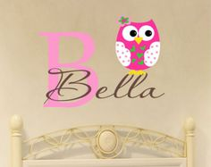 Childrens Decor Zebra Owl Wall Decal with Name Name by LucyLews