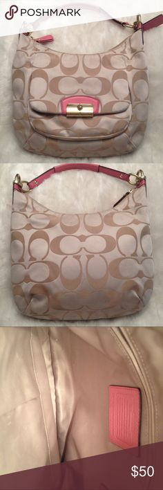 COACH Kristin Signature Hobo Bag COACH#L1275-F22301. Need some outside cleaning but stain free. Liner is clean. No scuffs on the corners and handle is good. Measures 10x10 Coach Bags Hobos