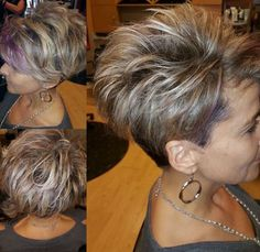Hair Beauty - Idea for my side shaved part I Edgy Short Hair, Short Hair With Layers, Cute Hairstyles For Short Hair, Pixie Hairstyles, Curly Hair Styles, Short Hair For Summer, Asymetrical Short Hair, Short Hair Cuts For Women Edgy, Short Textured Hair