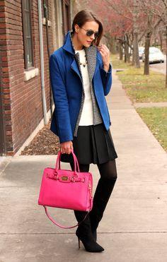 Dorothy Perkins Coat, LOFT Tweed Pea Coat, LuLu*s Vegan Leather Top, Gap Skirt, Merona Opaque Tights, Forever 21 Boots & Michael Kors Bag