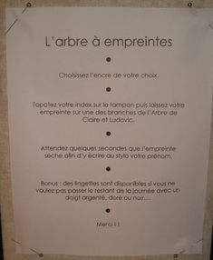 Notice pour les invités du mariage, de l'arbre à empreintes. _ Notice for the guests of the wedding, of the tree with imprints. 1st Birthday Party Games, Kitty Party Games, Holiday Party Games, Wedding Engagement, Our Wedding, Dream Wedding, Baby Showers, Wedding Games For Guests, Wedding Activities