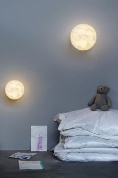 These realistic moon fixtures are perfect for a low, glowing light in the bedroom