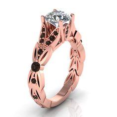 Black diamond rose gold ring with moissanite center. style 104RGBLM