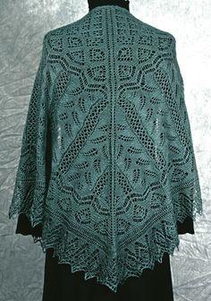 Fern Glade Shawl - Shetland lace knitting pattern by Fiddlesticks Knitting