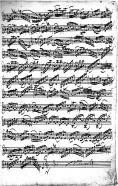 J.S. Bach Manuscript from Partita No. 2 in D minor, Sarabanda (page 2 of 2)