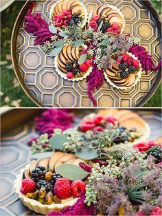 exotic fruit tart with floral decor and brass #weddingdecor #weddingdessert #weddingchicks http://www.weddingchicks.com/2014/02/13/romance-in-the-woods-wedding-inspiration/