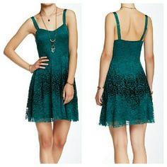 "Free People Green Lace Dress PRICE FIRM NWT. Adjustable straps. Hidden side zip closure. Nylon/spandex and rayon blend. Armpit to armpit flat across is 14"". Waist is 13.5"" across. Center bust to hem is 26"". Free People Dresses"