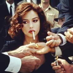 Classic photo of Monica Bellucci from the movie, Malena. Bad Girl Aesthetic, Aesthetic Photo, Malena Monica Bellucci, Hippie Vintage, Italian Women, Black And White Aesthetic, Girl Smoking, Old Hollywood, Hollywood Fashion