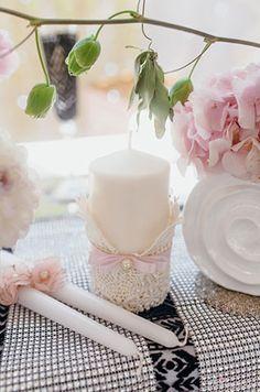 Свадьба в стиле Chanel, свадебные свечи