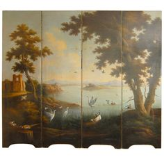 Four Panel Italian Oil On Canvas Screen of Landscape with Birds