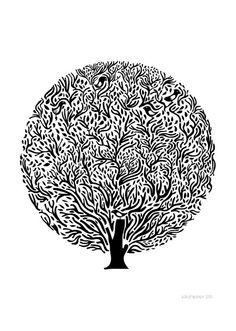 Tree Black and White Big Print by Judy Kaufmann