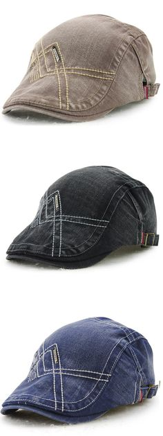 $10.11 Six Colors Men Denim Washing Beret Cap Casual Outdoor Sun Visor Hat