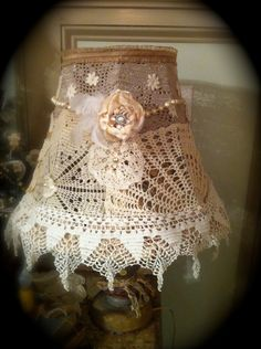 shabby chic crochet lampshade doily lamp shade GORGEOUS by AliLej Shabby Chic Crafts, Shabby Chic Kitchen, Vintage Shabby Chic, Shabby Chic Homes, Shabby Chic Style, Shabby Chic Decor, Bedroom Vintage, Vintage Diy, Vintage Crochet