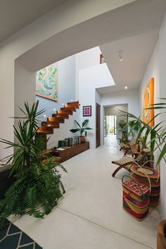 Casa Picasso: Cheerful Holiday Home in Yucatan Makes Most of Limited Space Living area of Casa Picasso in Merida Modern Staircase, Staircase Design, Workshop Architecture, Living Area, Living Spaces, Tyni House, Beautiful Modern Homes, Small Terrace, Narrow House