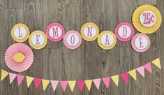 Lemonade Burlap Lace Garland Pink Lemon Yellow Green Dots Fabric Banner Vintage Inspired Happy Birthday Party Decoration Wedding Drink Table