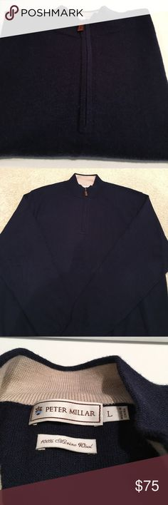 "Peter Millar 1/4 zip sweater Men's beautiful navy merino wool 1/4 zip sweater.  Worn only a few times--excellent condition.  Armpit to armpit 23.5"", sleeve length from armpit 20"". Peter Millar Sweaters Zip Up"