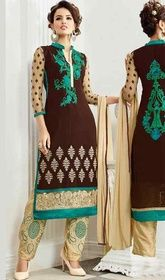 Brown and Beige Color Georgette Pant Style Dress  #banarasisilkpantstylesuit #buyindiansuits Aspire to look stylish wearing this brown and beige color georgette pant style dress. The wonderful dress creates a dramatic canvas with fantastic lace and resham work. USD $ 75 (Around £ 52 & Euro 57)