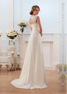 Buy discount Glamorous Chiffon Sweetheart Neckline Empire Waistline Sheath Wedding Dress With Beaded Lace Appliques at Dressilyme.com