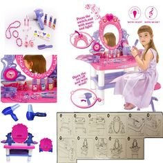 Role Play Children Dressing Table Toy Makeup S Vanity Gift Dresser Set Xmas